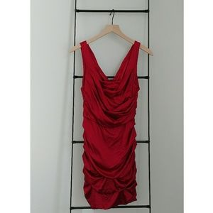 Express Red Satin Rouched Cocktail Dress